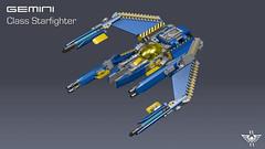 Gemini Starfighter (CK-MCMLXXXI) Tags: lego moc starfighter xwing ldd povray render digital build blocks