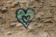 The Two Of Us Against The World (LookSharpImages) Tags: lime oregon limeoregon abandoned abandonedspaces heart graffiti rock rocky rockwall