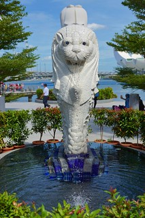 Miniature Merlion fountain at One Fullerton by the Marina Bay in Singapore