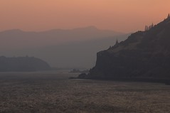 Smoky Sunset at Mosier Gap, Columbia Gorge (Gary L. Quay) Tags: columbia gorge river gary quay nikon d300 water landscape smoky smoke sunset wildfire mosier gap