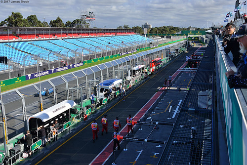 Main straight viewed from the top of the pit lane building