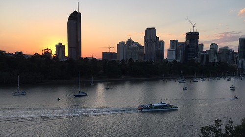 Sunset over Brisbane city, Queensland