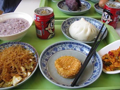 Breakfast spread- local Hangzhou fare