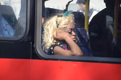 DSC_2713 Notting Hill Caribbean Carnival London Exotic Colourful Costume Dancing Lady Showgirl Performer Aug 28 2017 Tired Girl on the Bus (photographer695) Tags: notting hill caribbean carnival london exotic colourful costume dancing lady showgirl performer aug 28 2017 stunning ladies tired girl bus