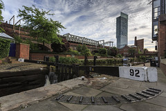 Lock 92 (andyrousephotography) Tags: manchester castlefield deansgate rochdalecanal bridgewatercanal canal basin dukeofbridgewater duke'slock lock92 waterways beethamtower clouds andyrouse canon eos 5dmkiii 5d3 ef1740mmf4l