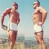 stretching at the top (ddman_70) Tags: shirtless hiking outdoors muscle pecs abs shortshorts