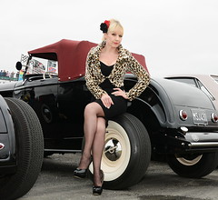 Jackie_5250 (Fast an' Bulbous) Tags: leopard print wiggle dress blonde hair high heels stockings nylons girl woman mature milf hot sexy pinup model classic custom car vehicle automobile santapod dragstalgia people outdoor