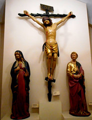 """""""Wooden Crucifix"""" (2nd half 13th century) with """"Virgin Mary and Saint John the Evangelis"""", wooden sculptures (1414-1415) by Domenico di Niccolò - """"Museo dell'Opera del Duomo"""" at Siena (Carlo Raso) Tags: siena tuscany toscana italy virginmary crucifix saintjohntheevangelist woodensculptures"""
