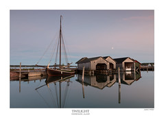 Twilight (justin--credible) Tags: finland aland mariehamn harbour shed reflection moon twilight sunset evening lee filter canon 70d 1740mm lens tripod