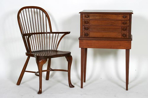 Virginia Craftsmen Early Windsor Arm Chair ($90.00) and Walnut 4-drawer Spool Cabinet on Legs ($230.00)