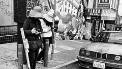 Traditions - Grant Avenue - Chinatown (draketoulouse) Tags: san francisco sanfrancisco california chinatown grant ave avenue street streetphotography people city urban mural mercedes bartsimpson simpson graffiti blackandwhite monochrome culture camera surveillance