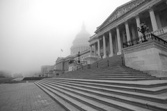 Foggy DC Morning (johngoucher) Tags: approved architecture washington washingtondc uscapitolbuilding uscapitol capitoldome dc foggy bw blackandwhite wideanglelens wideangle outdoors building dome steps congress morningwalk morning sonyimages sonyalpha sonya6000 capitolhill cityscape democracy