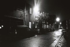 Lane (goodfella2459) Tags: nikon f4 af nikkor 50mm f14d lens ilford delta 3200 35mm blackandwhite film analog sydney back lane road city streets cars night lights bwfp milf