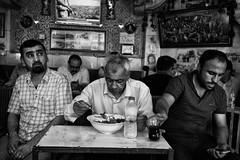 Erbil, in Ramadan, some people eat, drink and smoke in this little restaurant hidden behind a curtain (rvjak) Tags: kurdistan iraq irak ramadan restaurant men hommes black white noir blanc bw middleeast moyenorient d750 nikon