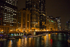 Chicago River at Night (romanboed) Tags: leica m 240 summicron 28 usa illinois chicago river loop center downtown wacker drive buildings skyscrapers cityscape urban street architecture travel night low light boats nightlife