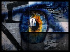 Day 238 Beautiful is in the eye of the beholder. (Clare Pickett) Tags: lashes reflection layers buildings wall beauty lady eye