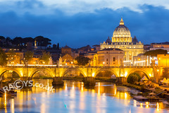 Vatican, Italy at dusk (LongLensPhotography.co.uk - Daugirdas Tomas Racys) Tags: catholic italian italy peter saint vatican basilica blue bridges church dusk evening hour light river sky stormy street sunset tiber water stpetersbasilica santangelo stangelo bridge bluehour papalthrone rome roma