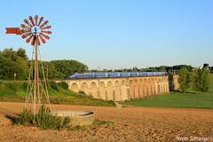 Au soleil levant (Lion de Belfort) Tags: train chemin de fer viaduc alsace ballersdorf champ girouette ligne 4 l4 tgv rd réseau duplex 600 sncf gommersdorf