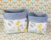 Cestinho PVC imitando jeans azul e tecido com bichinhos (vojacy) Tags: cestinhos decoração decoraçãoinfantil quartodobebê quartodecriança quartoinfantil organização decoraçãodivertida bichinhos
