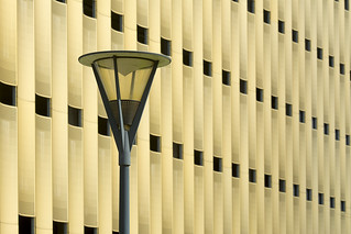 Street lamp and golden building