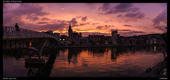 Passerelle Saucy - Sunset (Falcdragon) Tags: sonya7riialpha sonyzeisssonnarfe1855mmza evening liège luik lüttich belgium europe city urban streetphotography cityscape meuse river sunset light