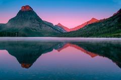 Mountain Light (jeanineleech) Tags: glaciernationalpark montana mountains summer water usa sinopahmountain lonewalkermountain alpenglow sunrise morning mountain twilight