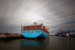 Munich Maersk (T.Seifer : )) Tags: containership maersk port habor harbour haven longexposure clouds outdoor hamburg europe langzeitbelichtung tourism travel elbe hafen habour himmel photography river ship
