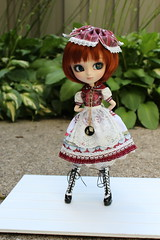 IMG_0517 (Dollymama2015) Tags: pullipmerl doll groovedoll redhead ginger lolitastyle dolldress handmadedollclothes sugarlattice gnome garden outdoors