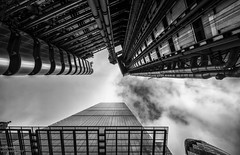 The Leadenhall & Lloyd's Building (handmiles) Tags: mono monochrome blackandwhite bw leadenhall lloyds building architecture london city capital upward view viewing outdoor outside out metal steel glass tower sony sonya77mark2 sonya77m2 tamron tamron1024mm wideangle mileshandphotography2017