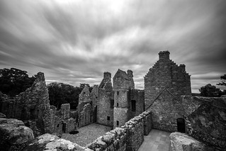 looking across the courtyard from one of the towers of Tolquhon Castle, fine art black & white, Aberdeenshire, Scotland