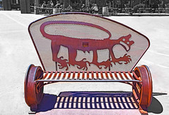 Have a Seat, Johnny Bench (oybay©) Tags: flagstaff arizona take seat empty rail railway train wheel seats plaza center bench one million eyecatcher tire rim heritageplaza heritage downtown art benchmark