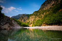 An Old Wire Bridge Above The River (Christophe_A) Tags: wire bridge tzoumerka epirus greece river water clear reflections gradnd nd1000 hoya filters tokina firin 20mm sony a7r2 christophe christopheanagnostopoulos christopheanagno christopheanagnocom landscape