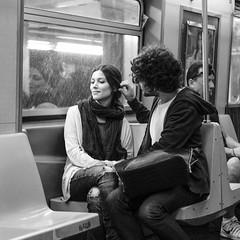 Somewhere a place for us (mkc609) Tags: street streetphotography bw blackandwhite blackwhite urban candid nyc newyork newyorkcity couple subway subwaystation underground touching woman man scarf monochrome people acros fuji xt2