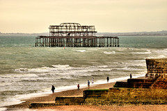 West Pier Remains (Geoff Henson) Tags: ruin pier sea seaside waves tide brighton sussex people wall view seascape green august nikon nikor nikon55200vr2 summer england uk fire