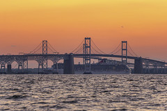 Party on the Lido Deck (johngoucher) Tags: approved water sunset bridge dusk chesapeake chesapeakebay bay baybridge chesapeakebaybridge cruise ship cruiseship queenannecounty terrapinbeach terrapinbeachpark sky orange outdoors maryland sonyimages sonyalpha