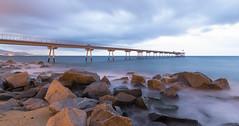 Pont del petroli (MiquelGuasch) Tags: badalona barcelona larga exposición amanecer mornning blue lightroom long exposure sedoso cielo puente sky bridge sea spain