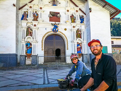 Amanda and Charles leaving Cajatambo and the Don Bosco church that so graciously hosted us.