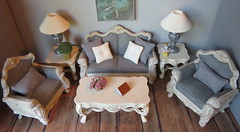 1:6 Scale French Country Living Room (Foxy Belle) Tags: furniture gloria fancy life barbie scale 16 diorama paint gray white french shabby chic pale chalk diy ooak playscale soft palate pastel country cream couch sofa armchair upholstery
