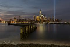 Tribute in Light (johnbacaring) Tags: nyc newyorkcity tributeinlight 911memorial oneworldtrade wtc worldtradecenter neverforget lowermanhattan longexposure 1776