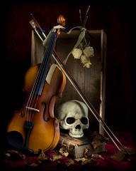 Autumn Vanitas (lclower19) Tags: lightpainting vanitas 52in2017 26techniques skull violin bow driedroses woodenbox oldbookdryleaves odc wood week38 book leaves