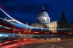 Lines At Pauls (JH Images.co.uk) Tags: london night blue hour lighttrails stpauls cathedral church hdr dri dome illuminated