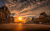 Sunset on the Pyramid of the Louvre in Paris (fmonin) Tags: cournapoléon sunset monument themes paris pyramidedulouvre muséedulouvre arcdetriompheducarrousel commémoratifhonorifiqueoudécoratif arc musée arche coucherdesoleil obelisque capitale