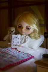 just one more chapter... (JennWrenn) Tags: blythe doll custom primadollysaffyencore little teddy bear bedtime story favourite winniethepooh maizie