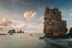 All The Great Things The Sun Gives Us (MANUELup) Tags: yellow water blue sunlight ocean orange shadow green seascape sundown longexposure seashore waterscape great rocks spain sky sunset sea clouds cantabria liencres island losurros portio