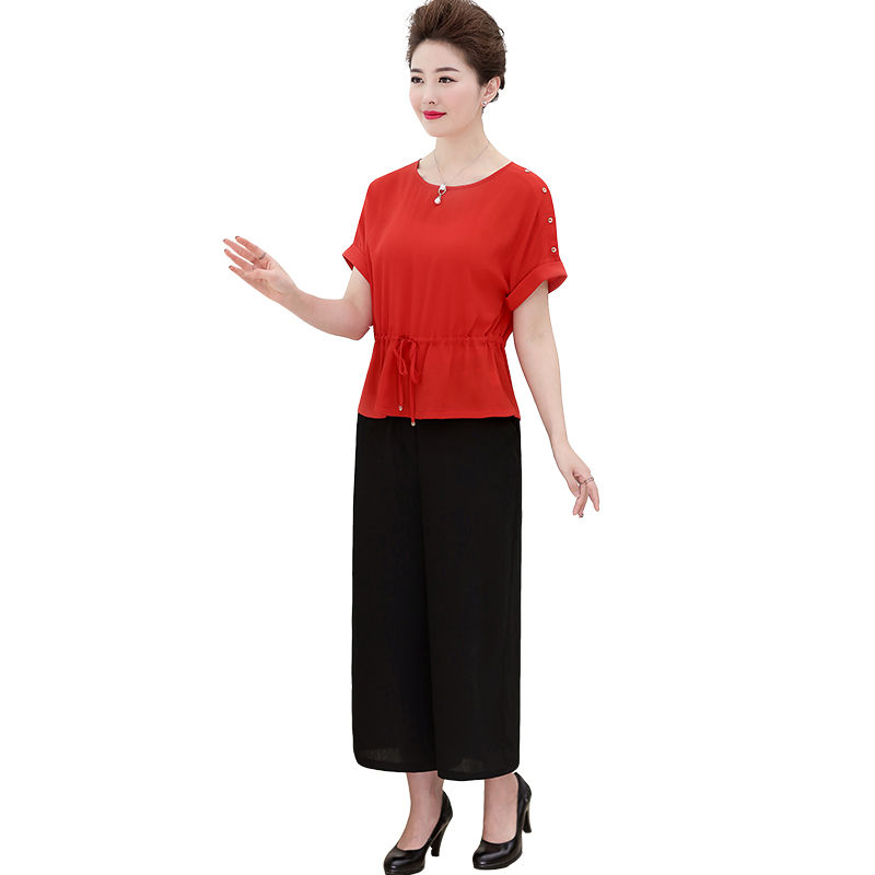 Die 40 - jährige Mutter Sommer 2017 die neuen Sommer Frauen Mittleren Alters, chiffon - shirt älteren Hose in zwei anzug
