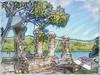 Boat house pillars at Nelson's Dockyard, Antigua (boeckli) Tags: antigua nelsonsdockyard pillars columns wasser tree baum textures texturen textur texture topaz painterly outdoor antiguabarbuda history geschichte water watercolor artdigital trolled