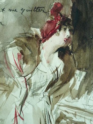 BOLDINI Giovanni - Jeune Femme coiffée d'un Chapeau rouge tenant un Sac rouge (Louvre RF39193) - Detail 08