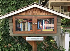 One of Sacramento's smallest libraries. (Traveling with Simone) Tags: sacramento california library books exchange livres bibliothèque street sidewalk trottoir fence palissade reading read lecture