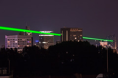 now, they are shooting laser (Rasande Tyskar) Tags: hamburg stadt city germany laser green desy science real color colours display show