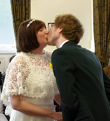 rachel and me (chillghetti) Tags: wedding marriage macclesfield town hall macclesfieldtownhall groom bride first kiss firstkiss